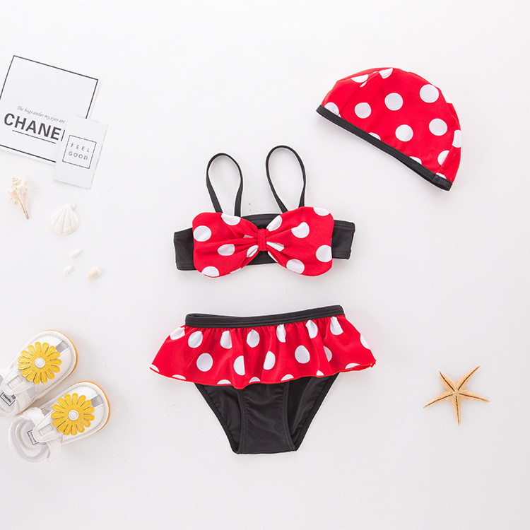 Short In Size Processing Girls' Two-piece Swimsuit Red Dotted Butterfly Bowknot KID'S Swimwear Hot Springs Clothing