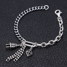925 Sterling Silver Bracelet Bangle Friendship Punk Survival Hiphop DIY Cross plug Bracelet handcrafted thailand 925 silver skeleton bracelet vintage sterling silver skull head punk bracelet pure silver man bracelet