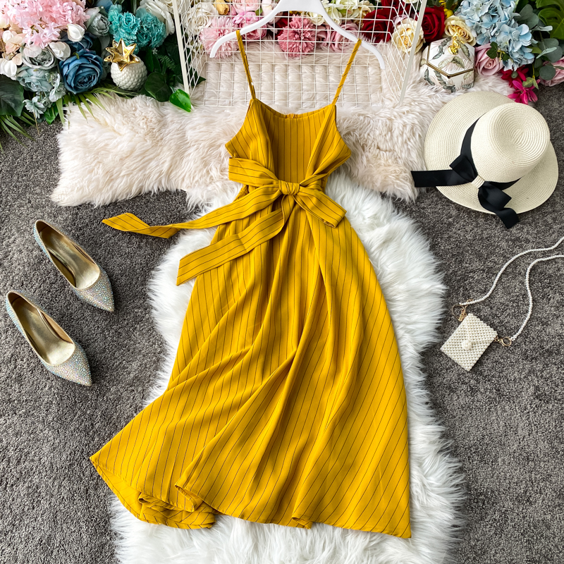Boho 2020 Slim sexy striped Print bandage Dress summer midi spaghetti strap dress Party Women casual beach tie a-line dresses