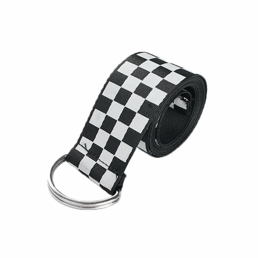Canvas Checkerboard Plaid Belt Ladies Casual Checkerboard Canvas Belt Casual Checkered New Fashion Belt 135CM Black White Plaid