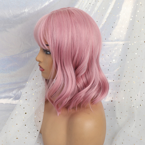Image 3 - ALAN EATON  Cute Lolita Pink Curly Medium Anime Lady Sweet Bangs Highlight Synthetic Hair Cosplay Wigs Heat Resistant Daily Wigs
