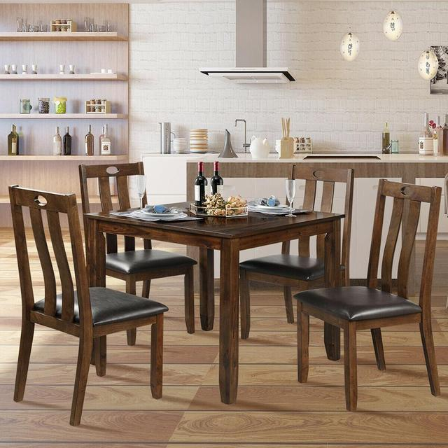 5-Piece Wood Square Dining Table Set  5