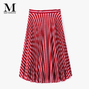 Micosoni Pleated-Skirts A-Line Silver Fashion-Style High-End Summer New Stripe Italian