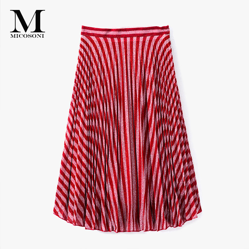 Micosoni wysokiej klasy marki 2018 lato nowy produkt jakości włoski dziania moda styl srebrny pasek w kształcie litery a duże plisowana spódnica w Spódnice od Odzież damska na  Grupa 1