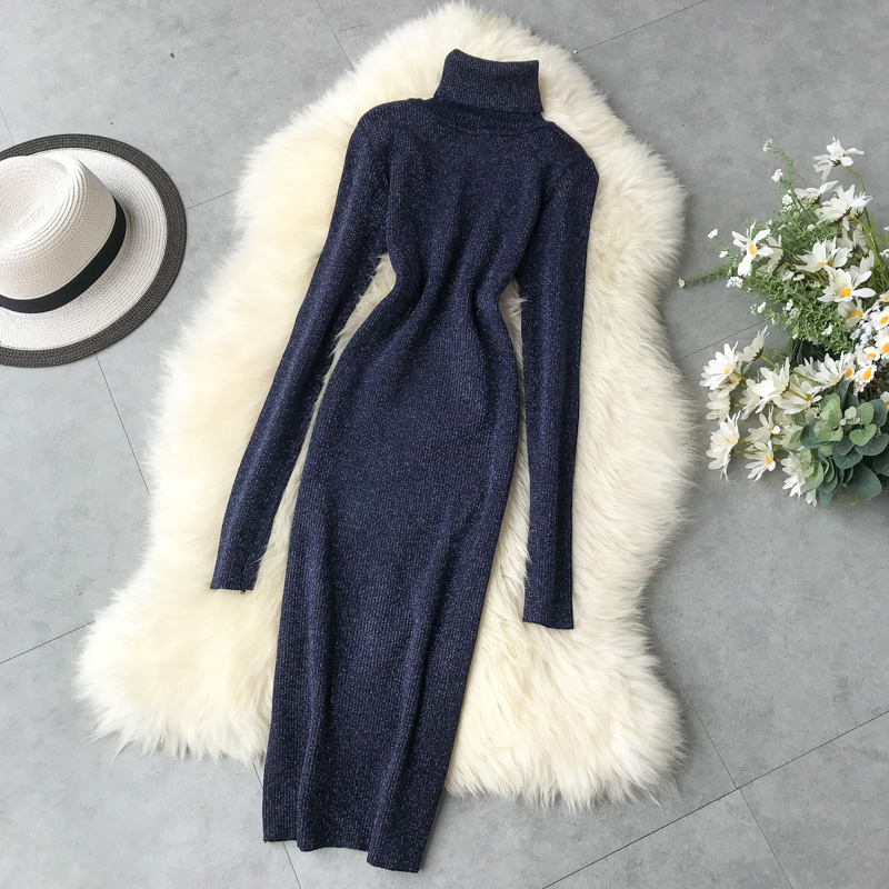 Autumn Winter Dress Women Warm Turtleneck Glitter Knitted Sweater Dress Casual Bodycon Midi Dress Long Sleeve Ladies Dresses