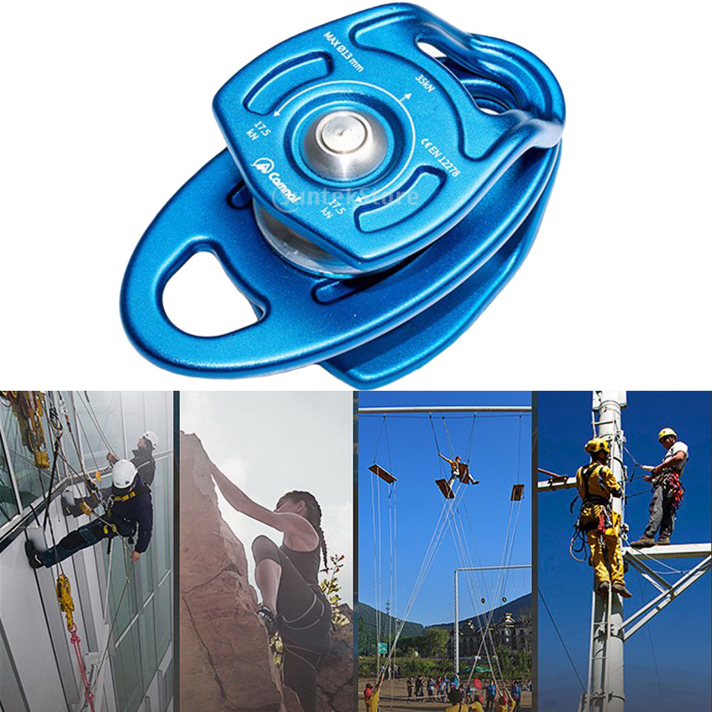 35KN Aluminum Heavy Duty Double Sheaves Mobile Pulley 13mm Rope Climbing CE