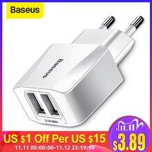 Baseus المحمولة المزدوجة USB شاحن 5 فولت 2.1A آيفون X 8 7 6 شاحن الاتحاد الأوروبي التوصيل سريع الجدار شاحن لسامسونج S8 نوت 8 شاومي Mi 8