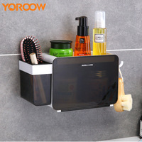 Bathroom Accessories Organizer Wall Cabinet Shampoo Holder Shower Abs Plastic Storage Black White Soap Basket Cube ASG0017 4