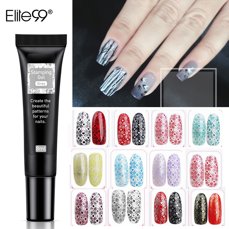 Elite99 Nail Stamping Gel Varnish Colorful Nail Art Decorations Plate Printing Polish Nails Lacquer Soak Off UV Lamp Manicure