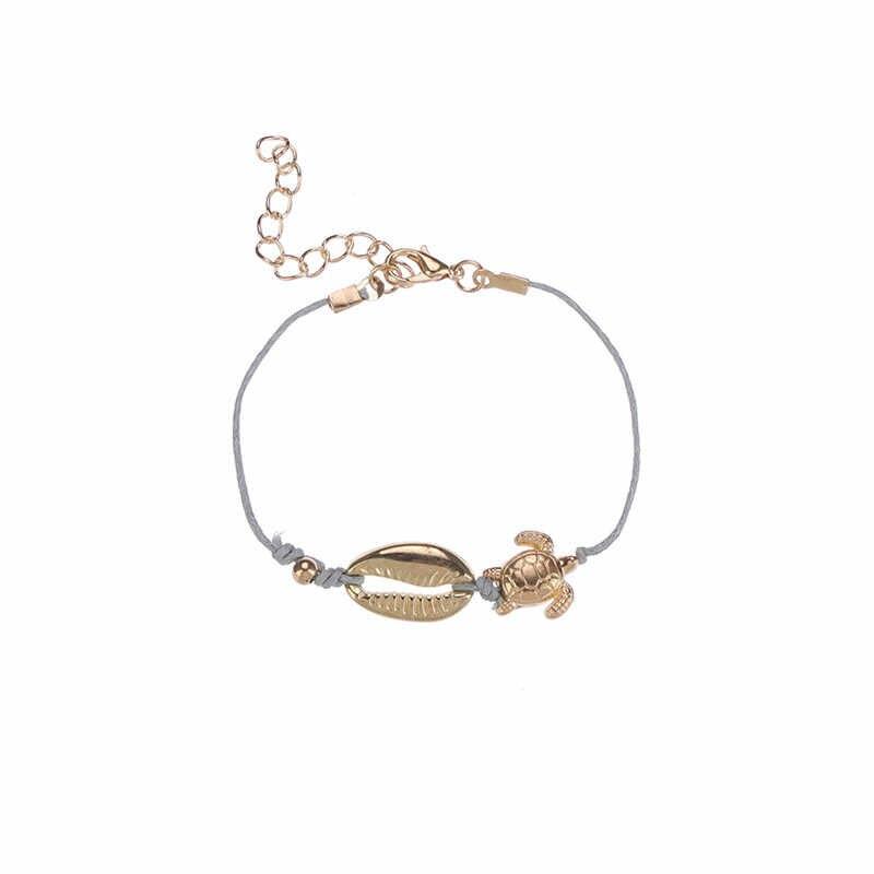 ZORCVENS טרנדי 4 יח'\סט זהב צבע לב מעטפת צב אינפיניטי קוקוס עץ קסם צמידי לנשים הילדה Boho Femme Bijoux