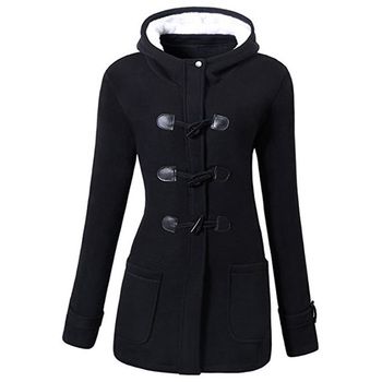 ROSEGAL Plus Größe Front Taschen Duffle Mantel Frauen Vinatge Jacken Horn Schnalle Mäntel Dame Outwear Lange Mit Kapuze 5XL Große Größe herbst