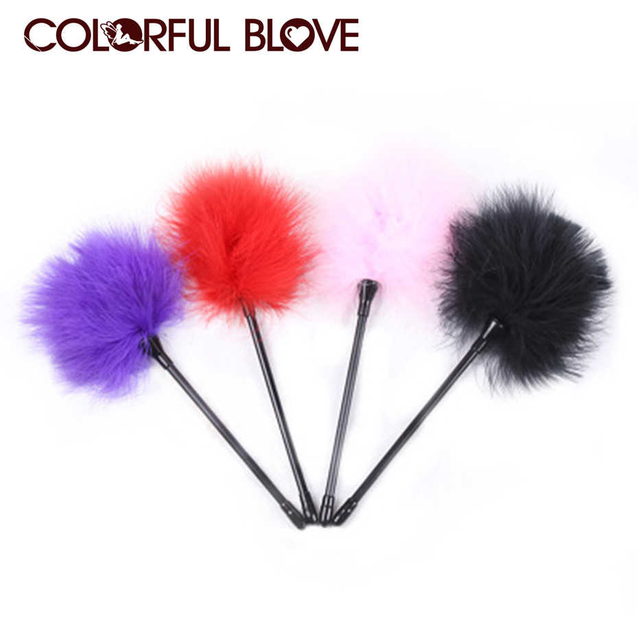 1 PCS Sex Flirt Toys Feather Tickler Happy Spanking Aid Teasing Flirt Tickling Erotic Toy Adult Couples Sex Game Random Colors