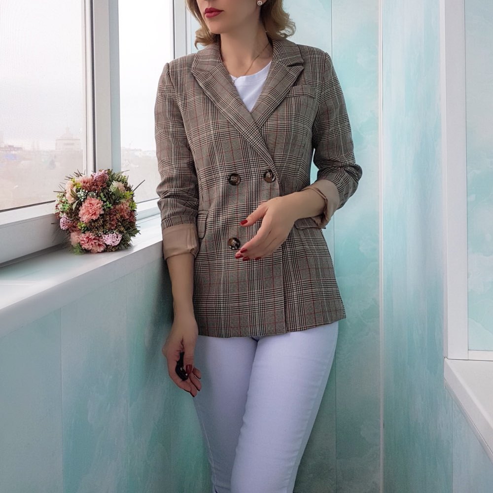 Autumn Vintage Double Breasted Plaid Women Blazer Female Leisure Lady Long Sleeve Suit Jackets Feminino Blazers Outerwear Coat