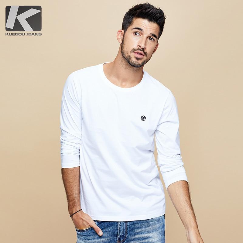 KUEGOU 2019 Autumn 100% Cotton Embroidery Plain White T Shirt Men Tshirt Brand T-shirt Long Sleeve Tee Shirt Fashion Clothes 496