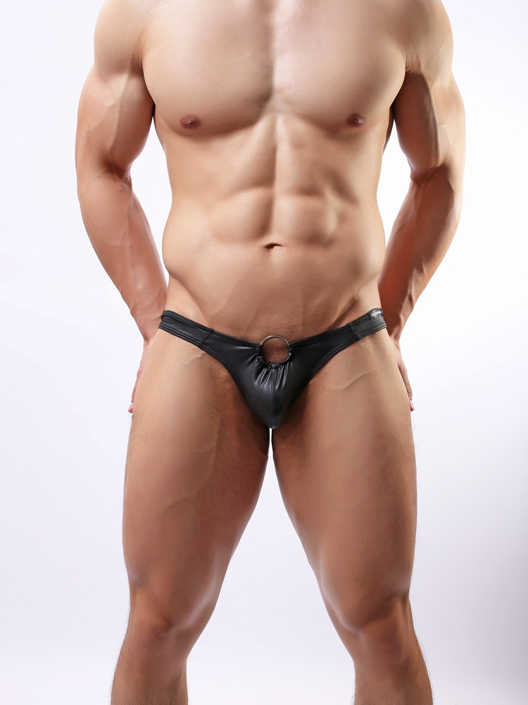 <font><b>Sexy</b></font> <font><b>Men</b></font> Jockstrap G-strings <font><b>2018</b></font> Ring Thongs Gay Underwear <font><b>Men</b></font> Leather Penis Sheath Panties <font><b>Lingerie</b></font> Bulge Cock Pouch S-XXL image