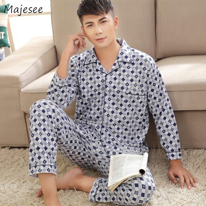 Pajama Set Men Plaid Korean Style Autumn Long Sleeve Mens Pajamas Hot Sale Comfortable Home Clothes High Quality Ulzzang Chic