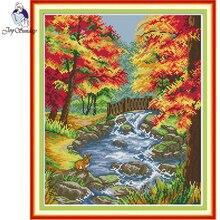 Joy Sunday,creek,cross stitch embroidery,printing cloth embroidery,Scenery pattern cross stitch,Needlework counted cross-stitch