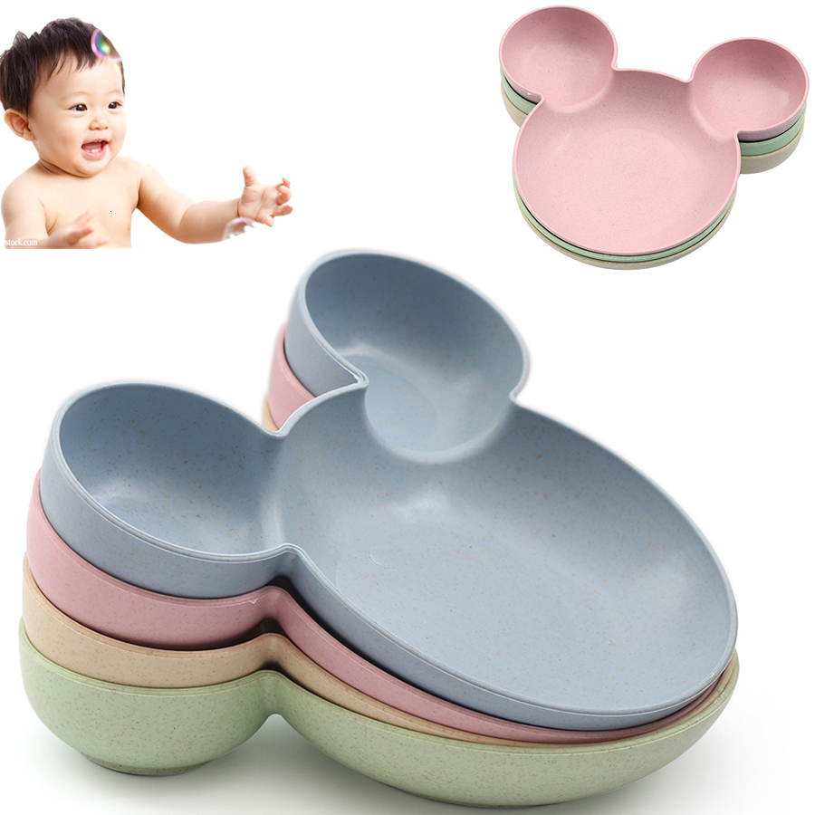 Blue Kid Cartoon Mouse  Bowl Dishes Lunch Box Kid Children Infant Baby Rice Feeding Bowl Plastic Snack Plate Tableware