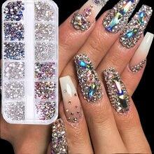 12 ячеек/коробка 3d блестящие кристаллы стеклянные бриллиантовые