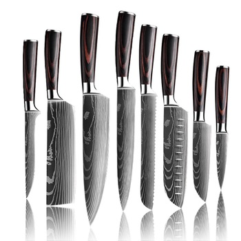 Upgraded Stainless Steel Chef Knife Set Laser Damascus Pattern Stainless Steel Sharp Cleaver Slicing Utility Knives Home & Garden Home Garden & Appliance Kitchen & Steak Knives Kitchen Knives & Accessories Kitchen, Dining & Bar Color: 8pcs