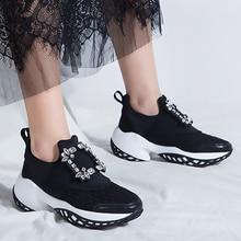 Tênis de plataforma de cristal fivela de ar malha designer formadores fundo grosso chunky feminino tênis vulcanizado sapatos casuais 2019