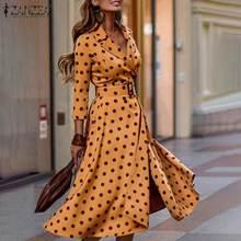 Polka-Dot Dress Robe Long-Sleeve Office Midi Women Zanzea Plus-Size Vestidos Fashion