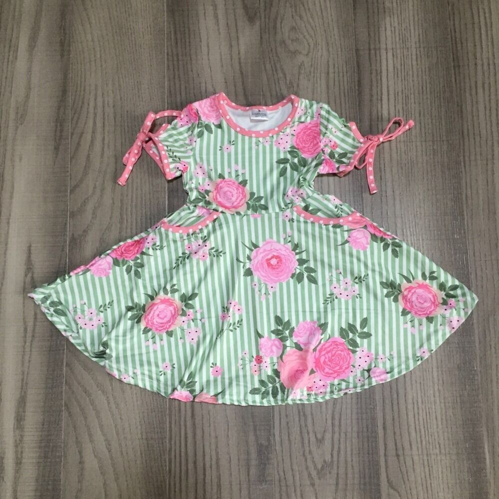 Baby Girls Summer Dress Girls Floral Dress Girls Green Stripe Dress Wholesale
