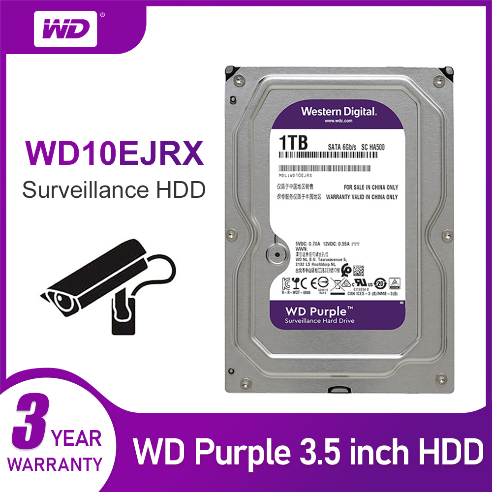 WD New Purple 1TB Surveillance Internal Hard Drive Disk Cache 3.5 Inch 64M Cache SATA III 6Gb/s HDD HD Harddisk For CCTV DVR NVR