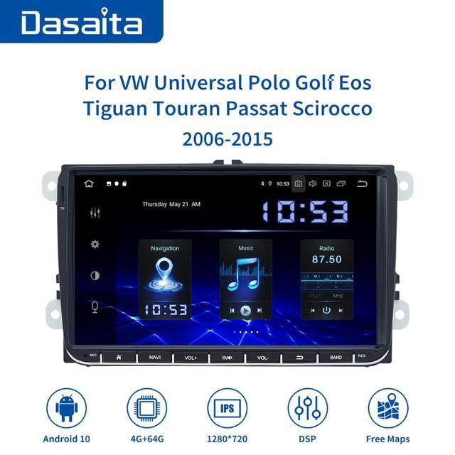 """Dasaita 9 """"IPS 스크린 1 딘 자동차 라디오 안 드 로이드 10 Carplay 폭스 바겐 GPS 폴로 골프 Eos Tiguan 좌석 레온 Passat 자동차 스테레오 TDA7850"""