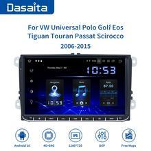 """Dasaita 9 """"tela ips 1 din rádio do carro android 10 carplay para vw gps polo golf eos tiguan assento leon passat carro estéreo tda7850"""