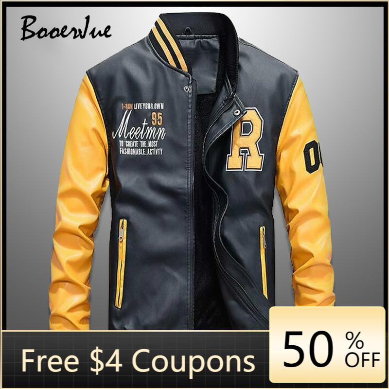 Baseball Jackets Men Slim Fit 2020 Stand Collar Leather PU Coat New Mens Zipper Jacket Jaquetas De Motocicleta Bomber Jacke Men