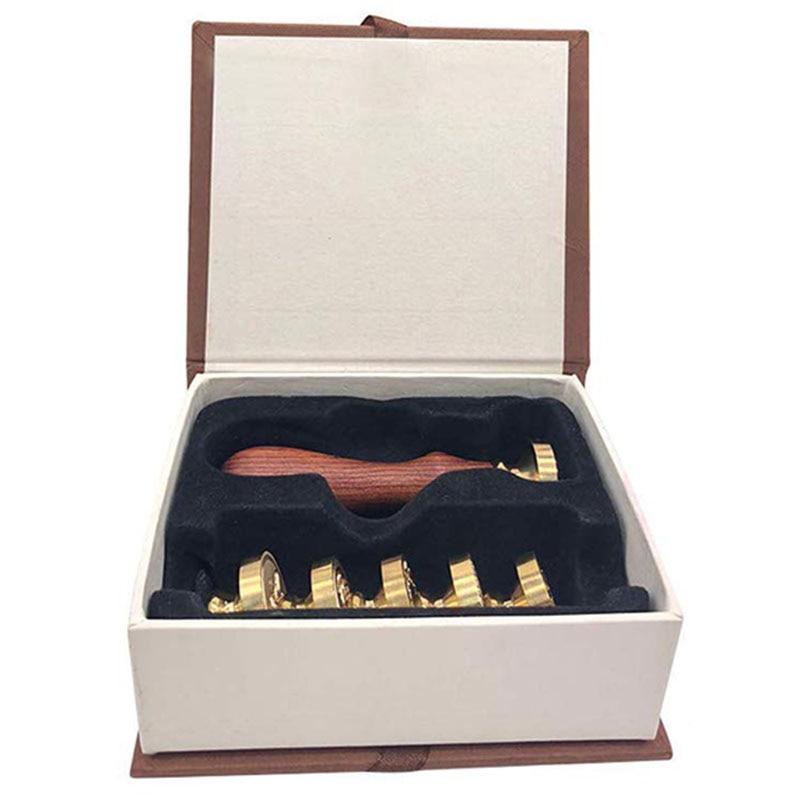 Wax Seal Stamp Kit - 6Pcs Copper Vintage Sealing Stamp Set, Romantic Creative Decor Tool For Envelops, Invitations