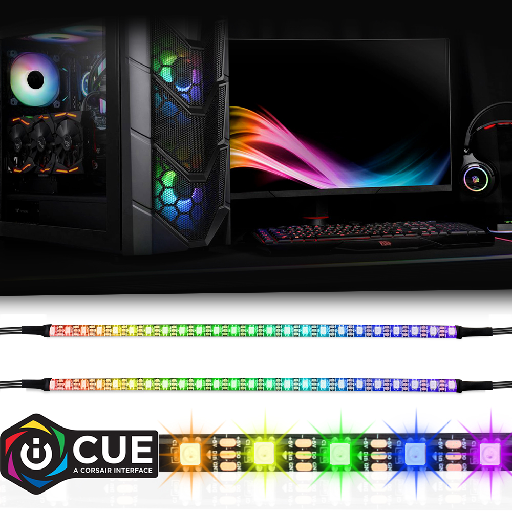 40cm Rainbow RGB LED Strip Addressable WS2812b Digital Light Strip 12/24 LEDs For PC Computer Case, For ICUE A CORSAIR Interface