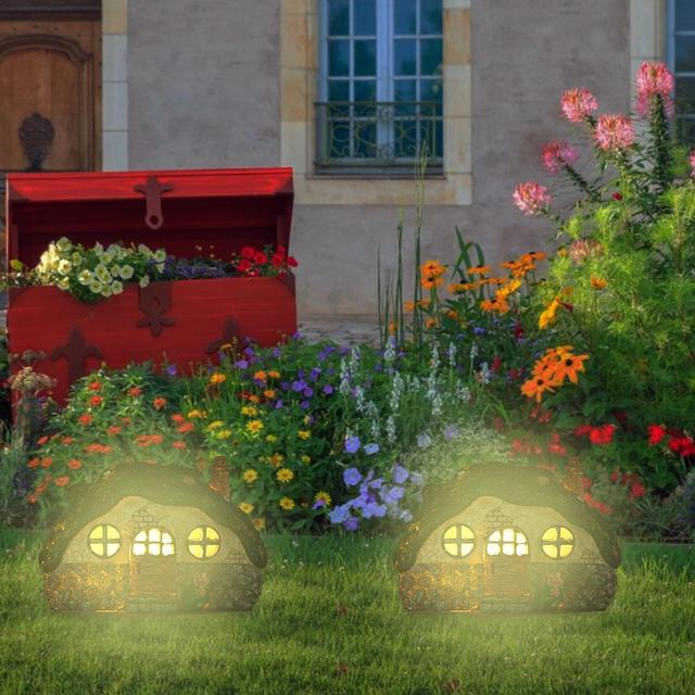 LED Solar Fairy House Light Anti-corrosion Solar Powered Pathway Lights Decorative Outdoor Lawn Yard Lamp For Garden Patio 2