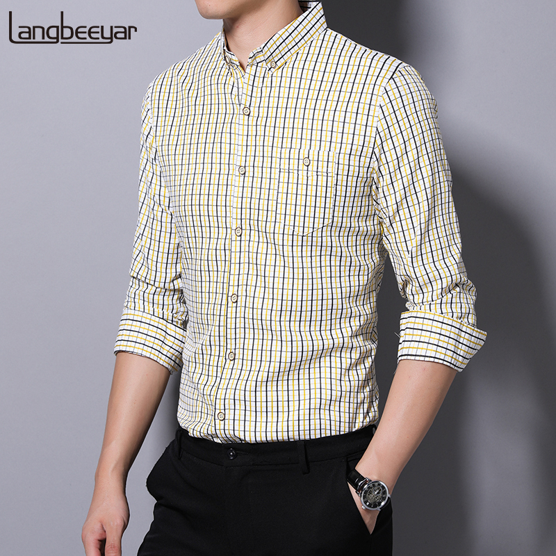 2019 Fall New Fashion Brand Designer Shirts Mens Plaid Slim Fit Streetwear Long Sleeve Checkered Dress Shirts Casual Clothes