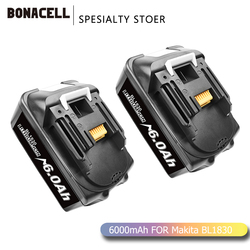 Bonacell BL1860 Rechargeable Battery 18 V 6000mAh Lithium ion for Makita 18v Battery BL1840 BL1850 BL1830 BL1860B LXT 400 L70