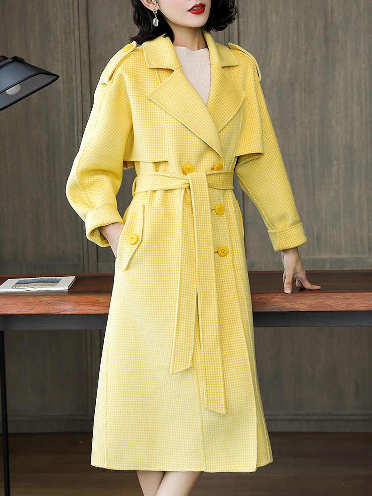 冬コート女性の秋 100% ウールコートの女性の服 2020 韓国格子縞の女性ウールジャケットファム-6671