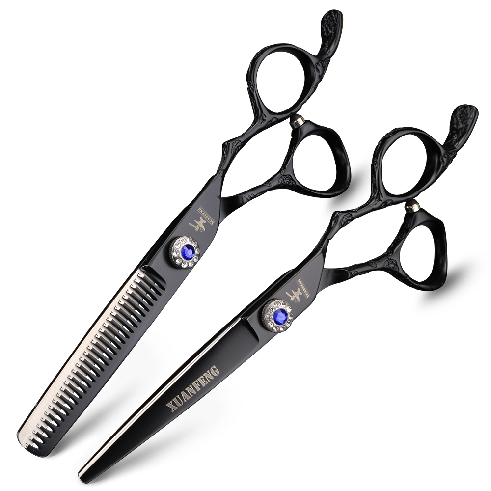 Купить с кэшбэком Professional hairdressing scissors japanese design 6 inch hairdressing scissors Black and white hairdresser hair clippers set