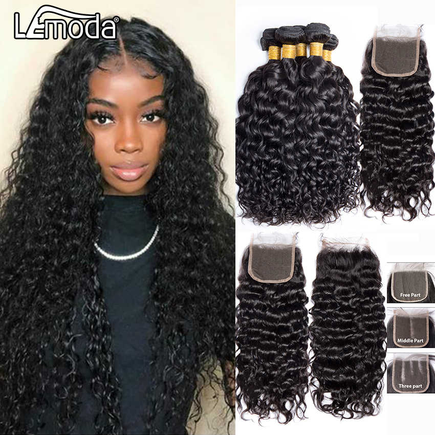 Human Hair Bundles With Closure Lemoda Peruvian Water Wave Hair Weave 3 or 4 Bundles With Lace Closure Remy Hair Extensions 10A