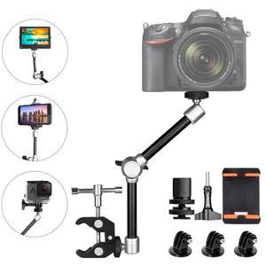 Image 1 - 11 eklemli sürtünme sihirli kol w/süper kelepçe tutucu dağı Rig DSLR kamera Canon Gopro Hero Sony eylem kamera akıllı telefon