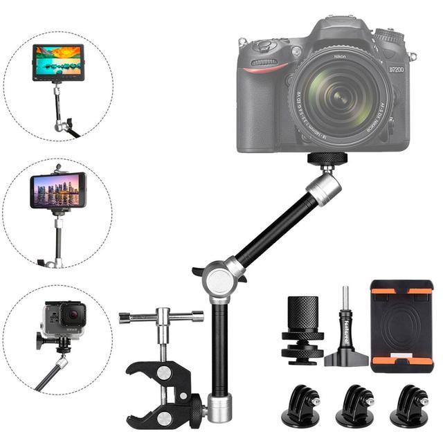 11 eklemli sürtünme sihirli kol w/süper kelepçe tutucu dağı Rig DSLR kamera Canon Gopro Hero Sony eylem kamera akıllı telefon