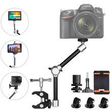 11 scharnierende Wrijving Magische Arm w/Super Clamp Houder Rig voor DSLR Camera Canon Gopro Hero Sony action Cam Smartphone