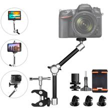 Braço mágico articulado de 11 com suporte de montagem, equipamento para câmera dslr, canon, gopro, hero, sony smartphone de ação cam