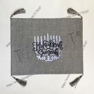 Image 4 - قماش كتان ثقيل رمادي فاتح مخصص بدون تطريز مع حافة الحرية KIPPAH ، KIPPOT ، KIPOT لحفلات الزفاف