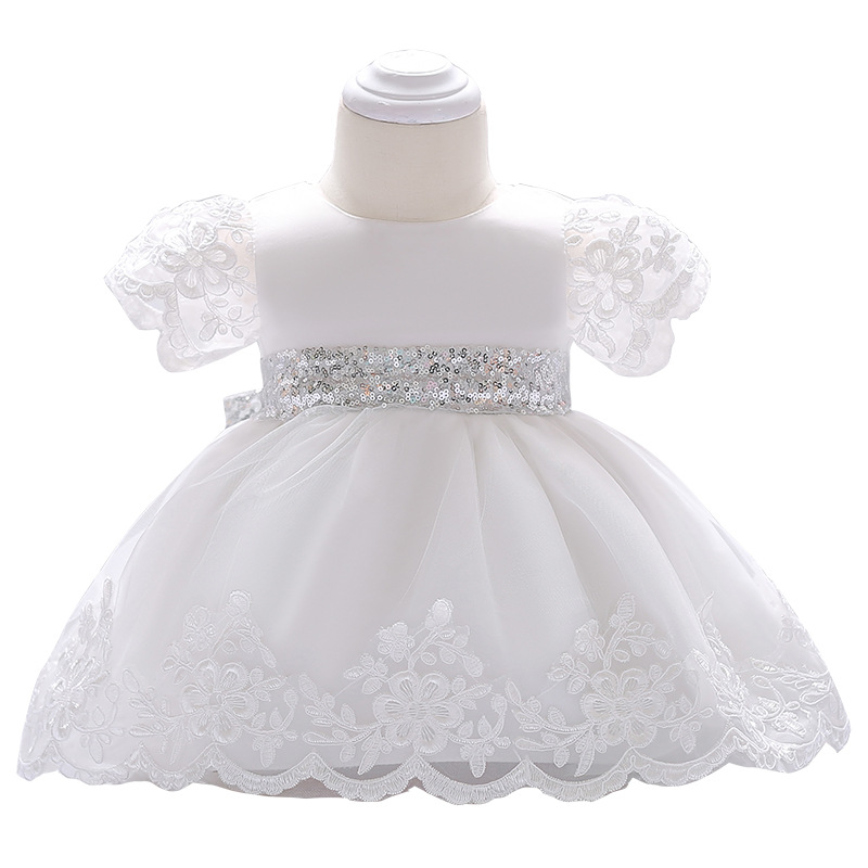 Infants Child A Year Of Age Birthday Formal Dress Sequin Belt Bow Princess Dress Embroidery Lace Children Shirt