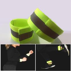 4 шт. высокая видимость группа отражение эластичные браслеты на запястье лодыжки ремни появление безопасности предупреждающие полосы для