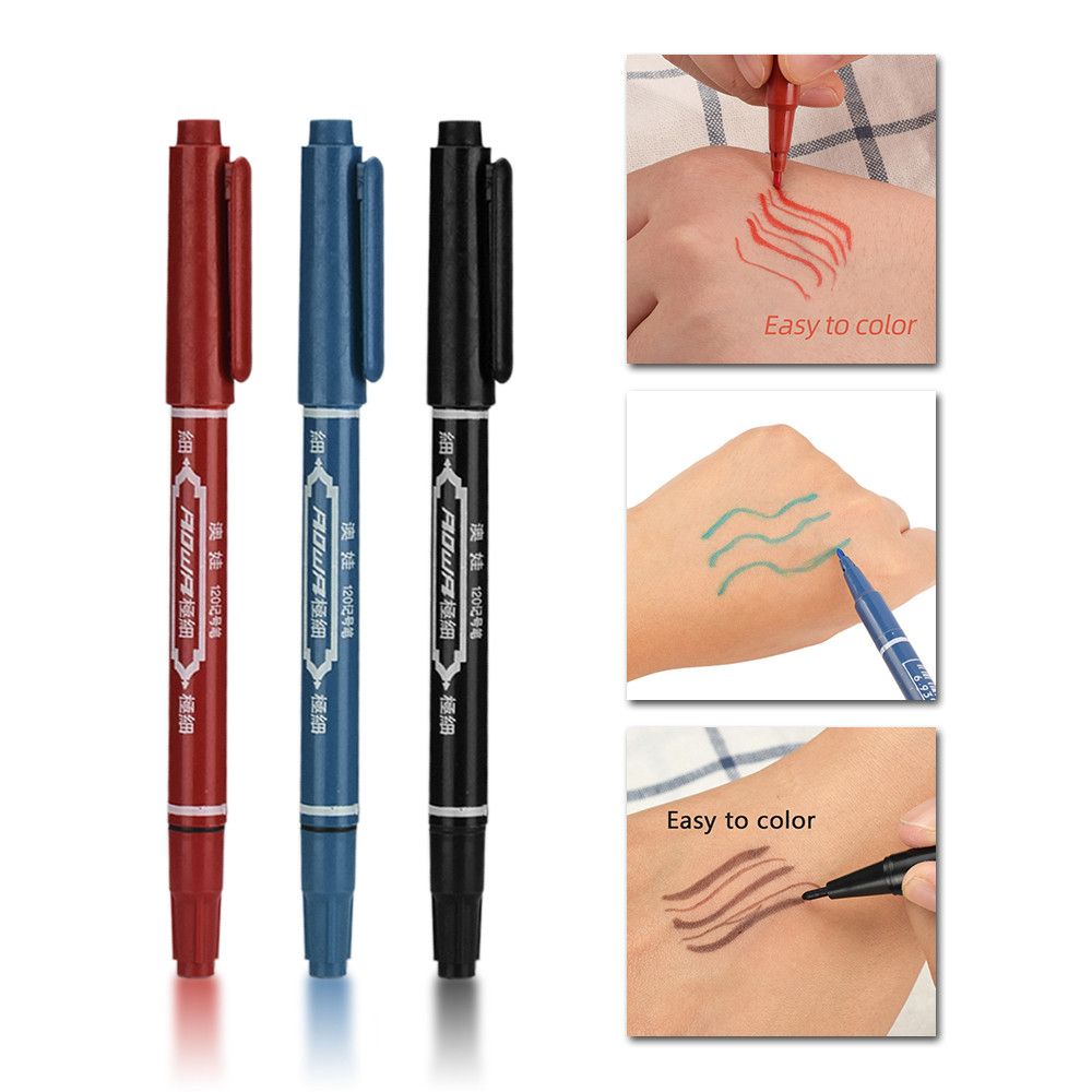 3 PCS Tattoo Supplies Tattoo Marker Pen Skin Marker Pen Scribe Tool Permanent  Ink Thin Nib Crude Nib