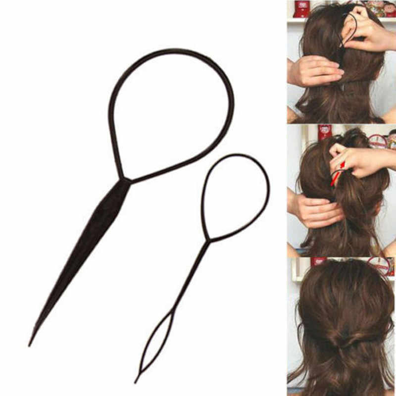2 piece ponytail plastic ring styling tool black Topsy pony topsy tail clip hair styling belt massage tool fashion