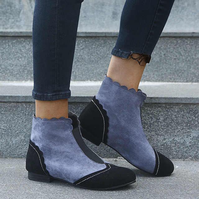 Vintage británico invierno Mujer caliente nieve Martin botas de tobillo Slip On Martin Botines Mujer botas Mujer Zapatos Bottine c18