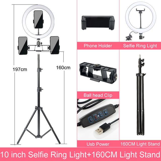 Gift 6 10 12 Inch Dimmable LED Selfie Ring Light with Stand without tripod 160cm Lamp Photography Ringlight Phone Studio Desktop 3